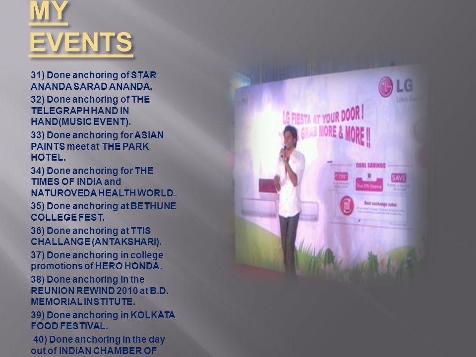 MY EVENTS 31) Done anchoring of STAR ANANDA SARAD ANANDA.