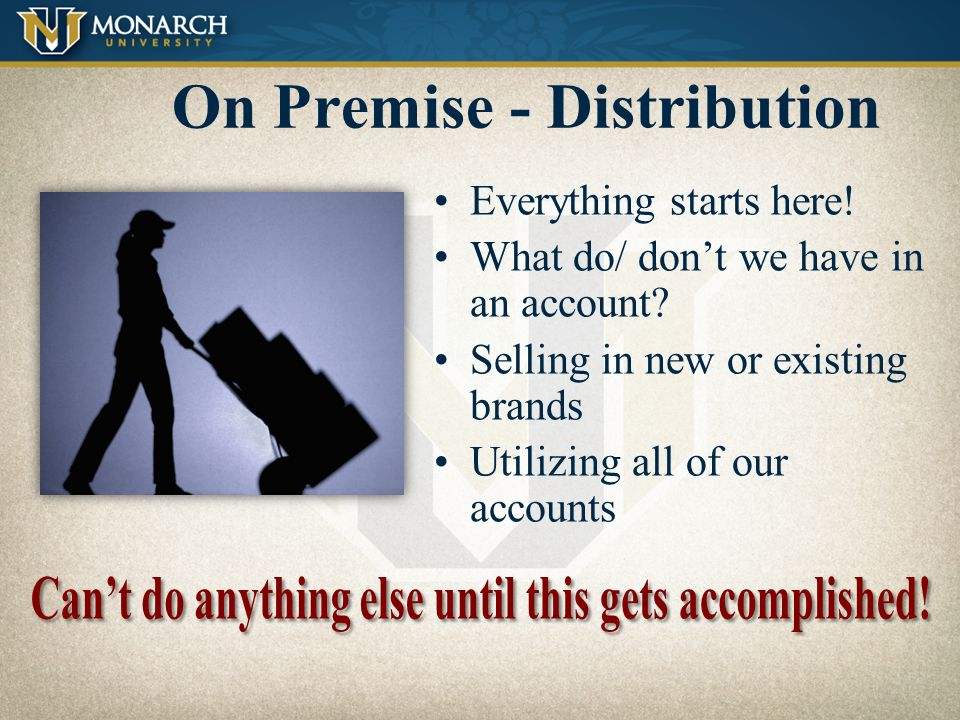 On-Premise The 7 Standards of Performance Distribution Price P.O.S.