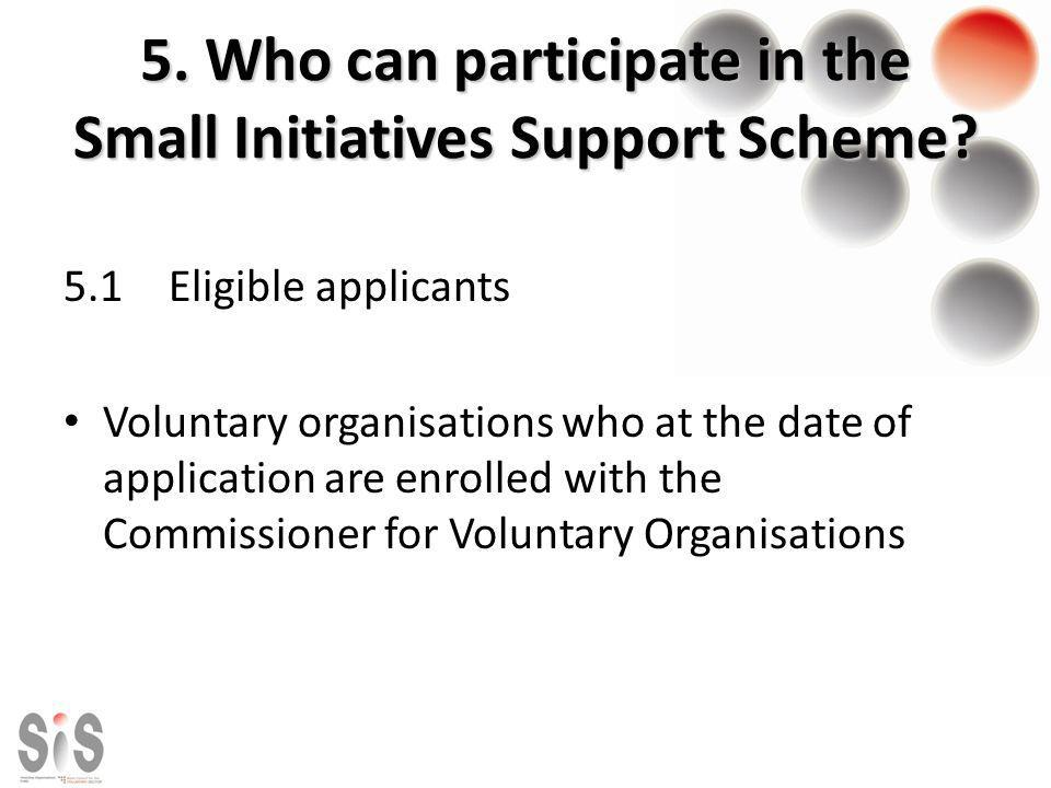 5.Who can participate in the Small Initiatives Support Scheme.