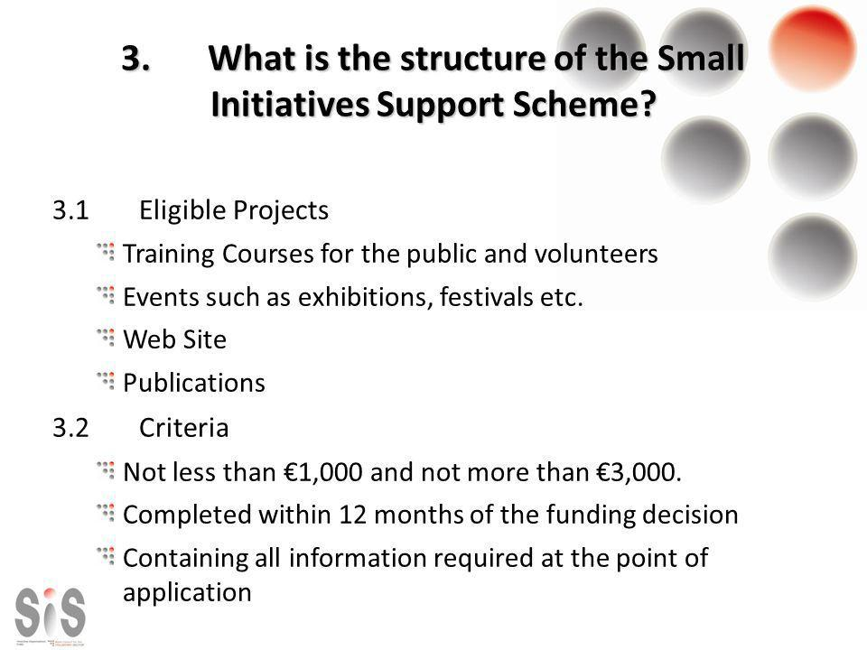 3.What is the structure of the Small Initiatives Support Scheme? 3.1Eligible Projects Training Courses for the public and volunteers Events such as ex