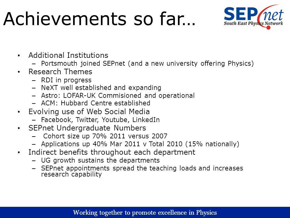 Working together to promote excellence in Physics Achievements so far… Additional Institutions – Portsmouth joined SEPnet (and a new university offeri