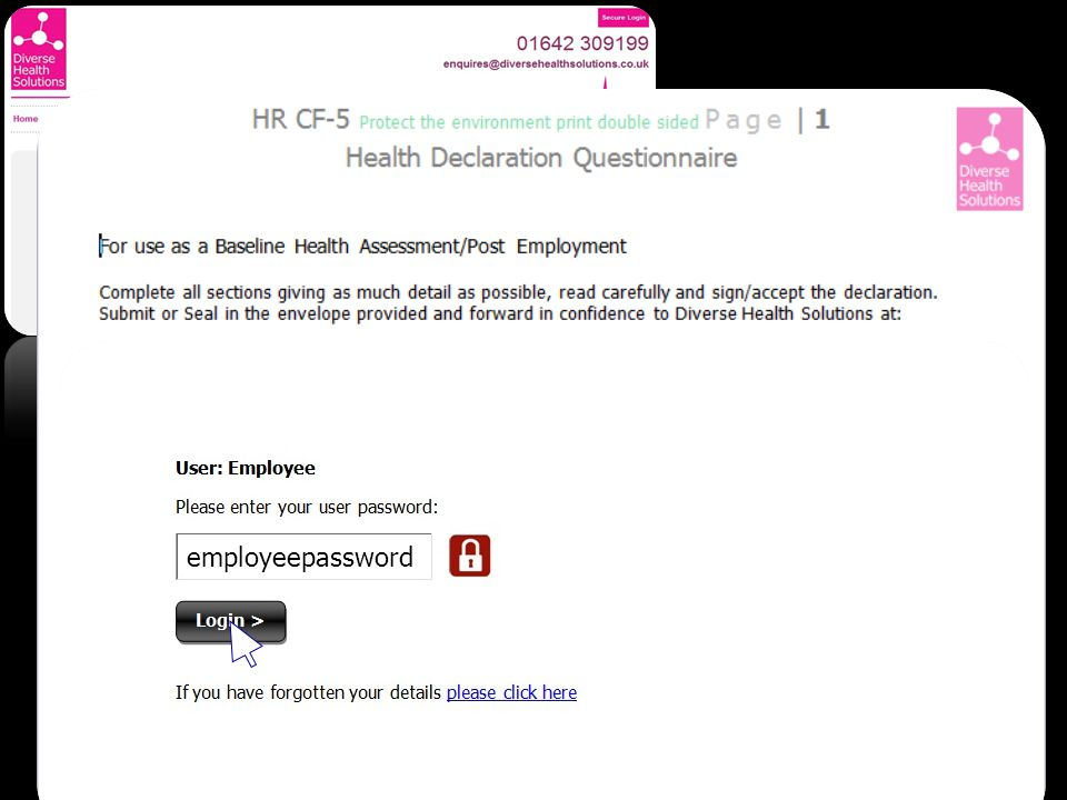 Health & Wellbeing Area Employee - Documents Employee - Upload Monthly Health Promotion In the next area employees will provide an employee level pass