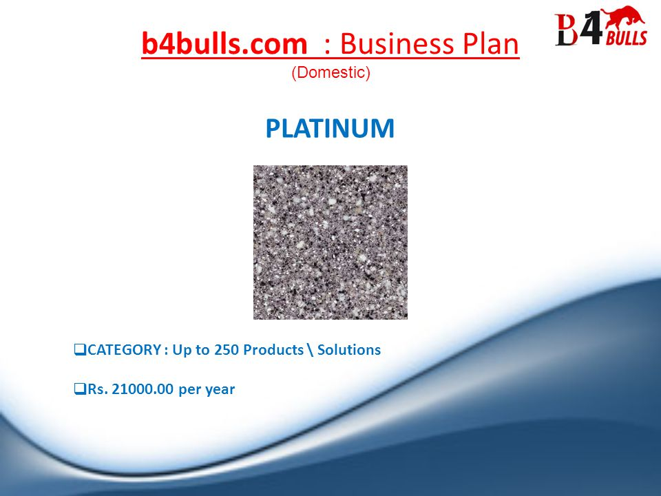 b4bulls.com : Business Plan PLATINUM CATEGORY : Up to 250 Products \ Solutions Rs.