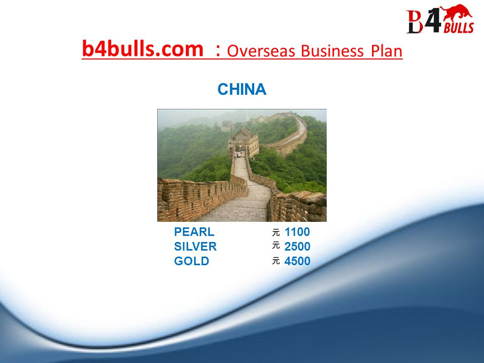 PEARL 1100 SILVER 2500 GOLD 4500 b4bulls.com : Overseas Business Plan CHINA