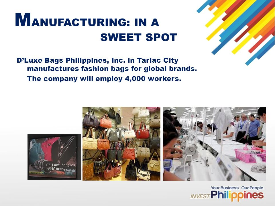 M ANUFACTURING: IN A SWEET SPOT DLuxe Bags Philippines, Inc.
