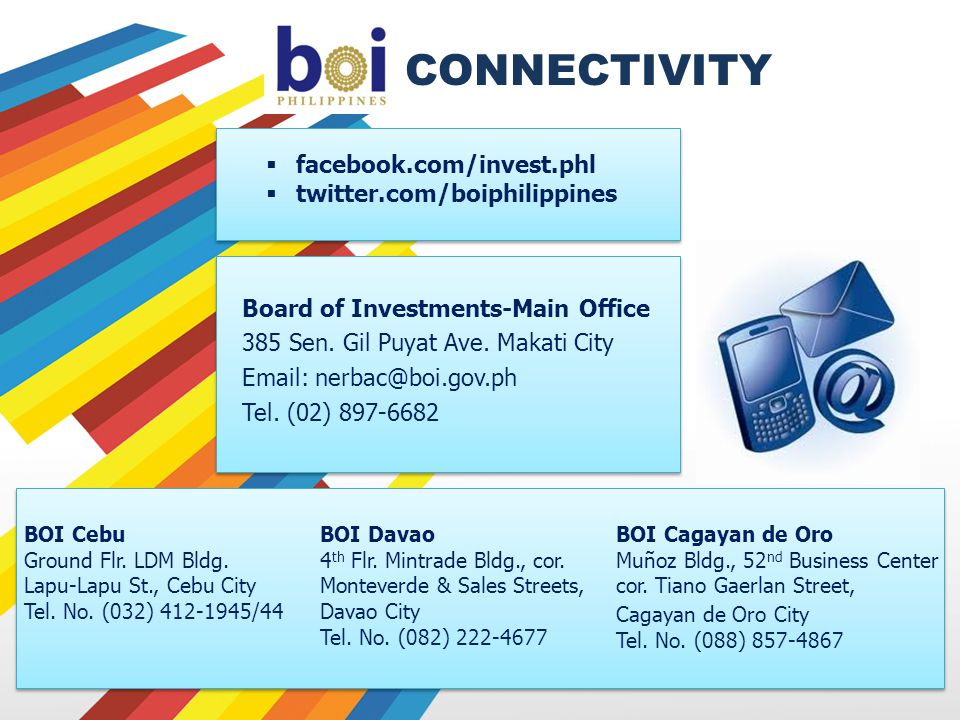 CONNECTIVITY facebook.com/invest.phl twitter.com/boiphilippines Board of Investments-Main Office 385 Sen.