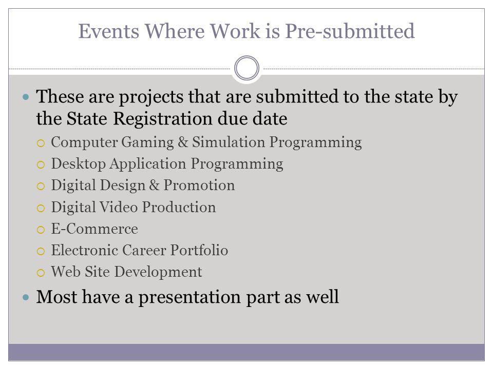 Events Where Work is Pre-submitted These are projects that are submitted to the state by the State Registration due date Computer Gaming & Simulation Programming Desktop Application Programming Digital Design & Promotion Digital Video Production E-Commerce Electronic Career Portfolio Web Site Development Most have a presentation part as well
