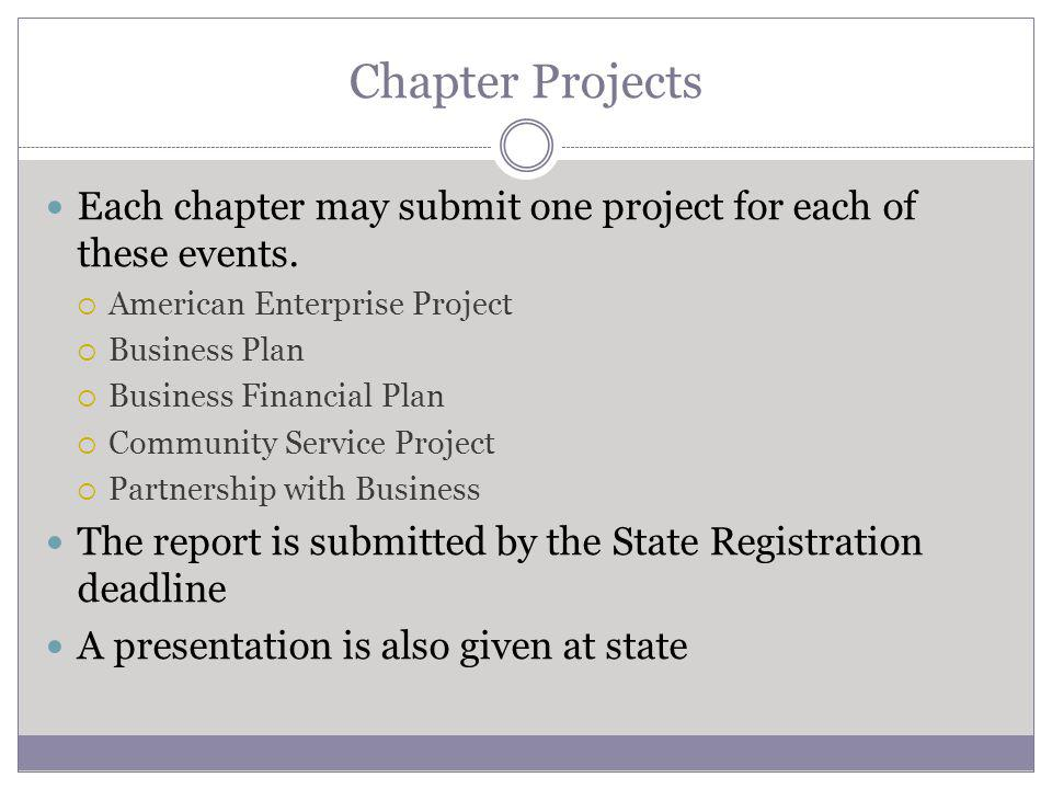 Chapter Projects Each chapter may submit one project for each of these events.