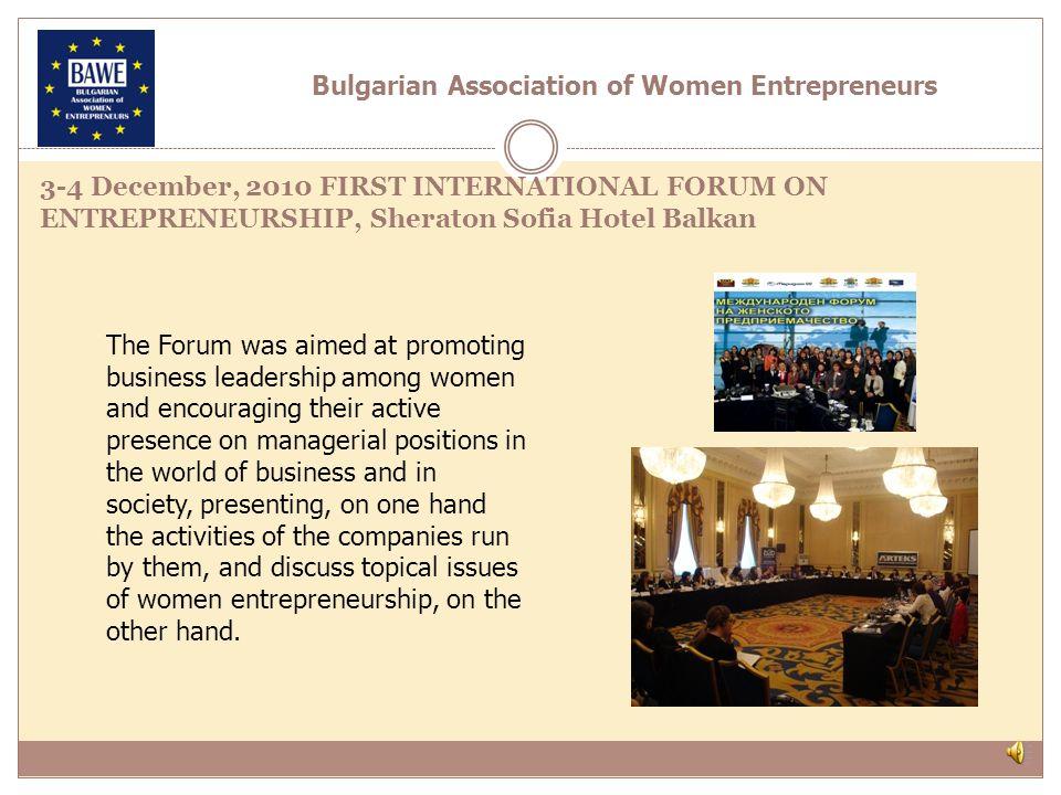 Establishment of BWP Sofia Club, associated to BPW International-15.04.2011 Bulgarian Association of Women Entrepreneurs