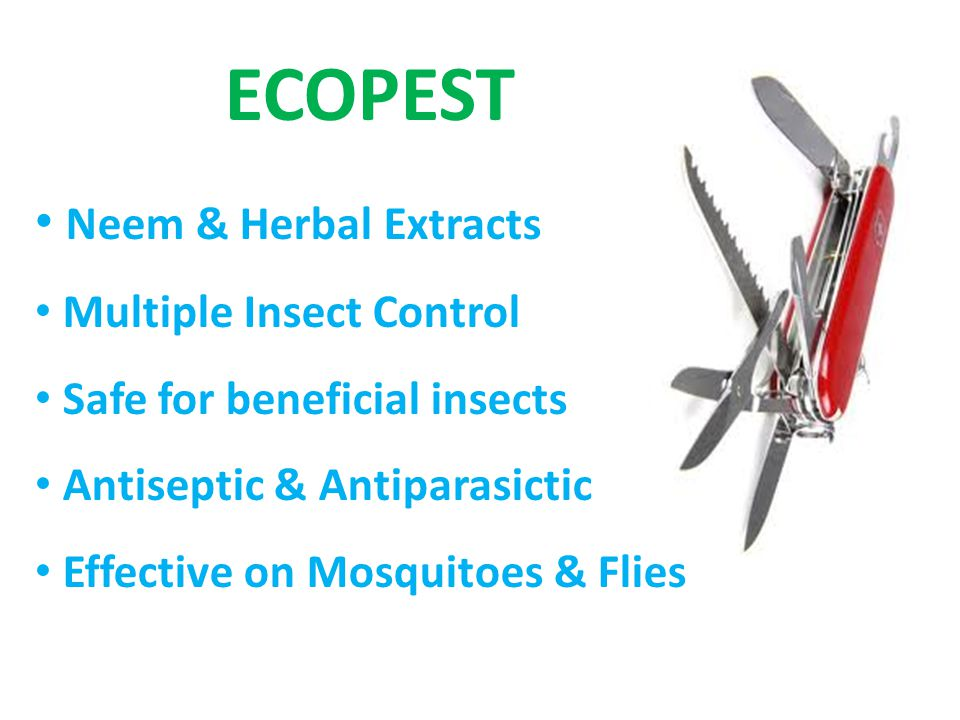 ECOPEST Neem & Herbal Extracts Multiple Insect Control Safe for beneficial insects Antiseptic & Antiparasictic Effective on Mosquitoes & Flies