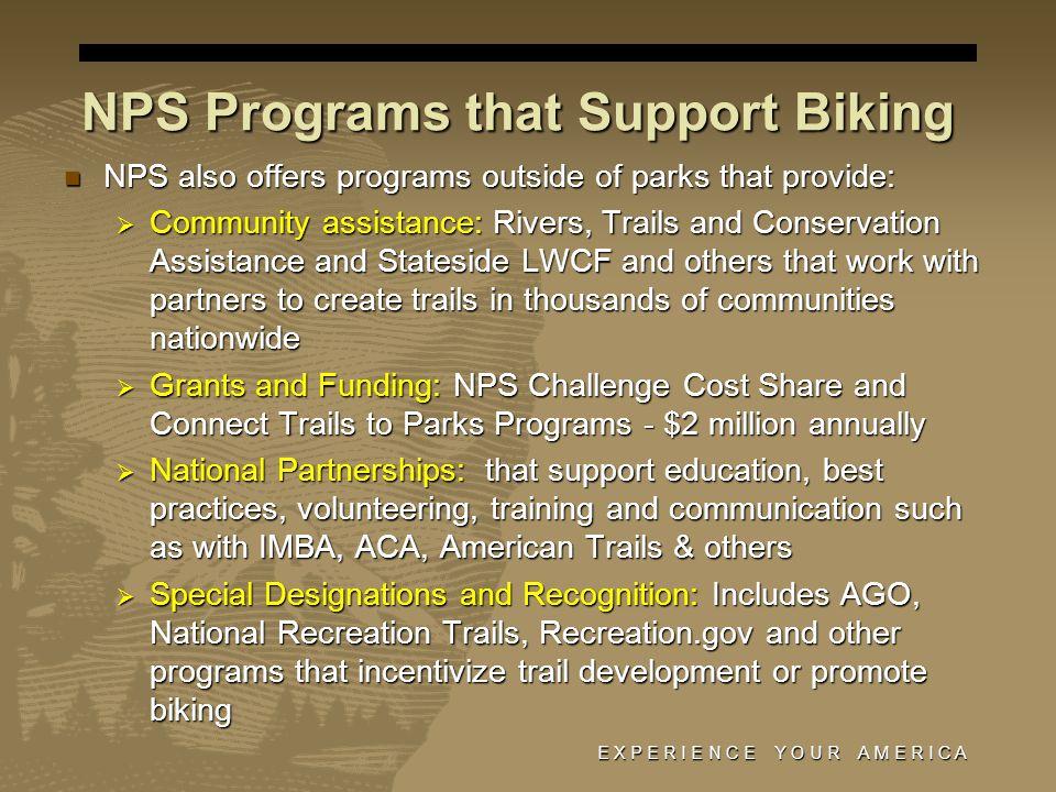 NPS Programs that Support Biking NPS also offers programs outside of parks that provide: NPS also offers programs outside of parks that provide: Commu