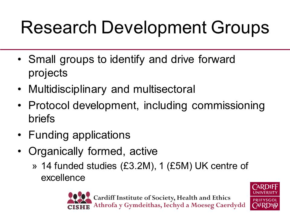 Research Development Groups Small groups to identify and drive forward projects Multidisciplinary and multisectoral Protocol development, including co