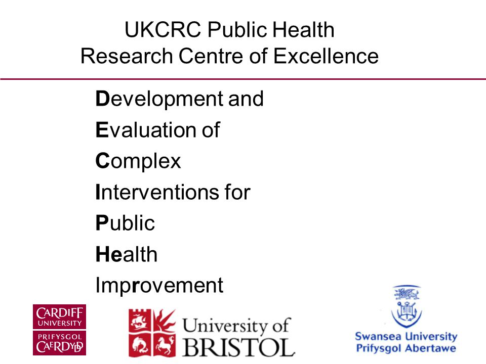 Development and Evaluation of Complex Interventions for Public Health Improvement UKCRC Public Health Research Centre of Excellence
