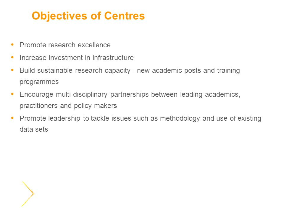Objectives of Centres Promote research excellence Increase investment in infrastructure Build sustainable research capacity - new academic posts and training programmes Encourage multi-disciplinary partnerships between leading academics, practitioners and policy makers Promote leadership to tackle issues such as methodology and use of existing data sets