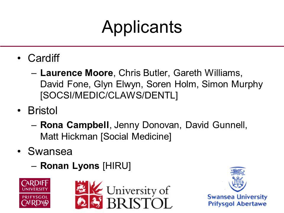 Applicants Cardiff –Laurence Moore, Chris Butler, Gareth Williams, David Fone, Glyn Elwyn, Soren Holm, Simon Murphy [SOCSI/MEDIC/CLAWS/DENTL] Bristol