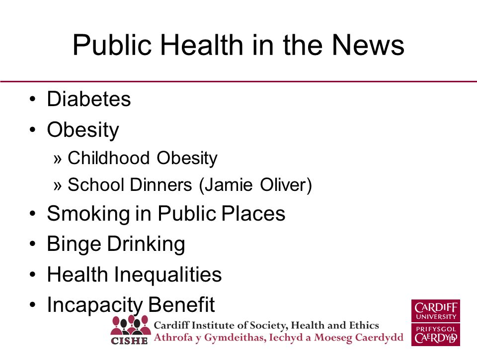 Public Health in the News Diabetes Obesity »Childhood Obesity »School Dinners (Jamie Oliver) Smoking in Public Places Binge Drinking Health Inequaliti
