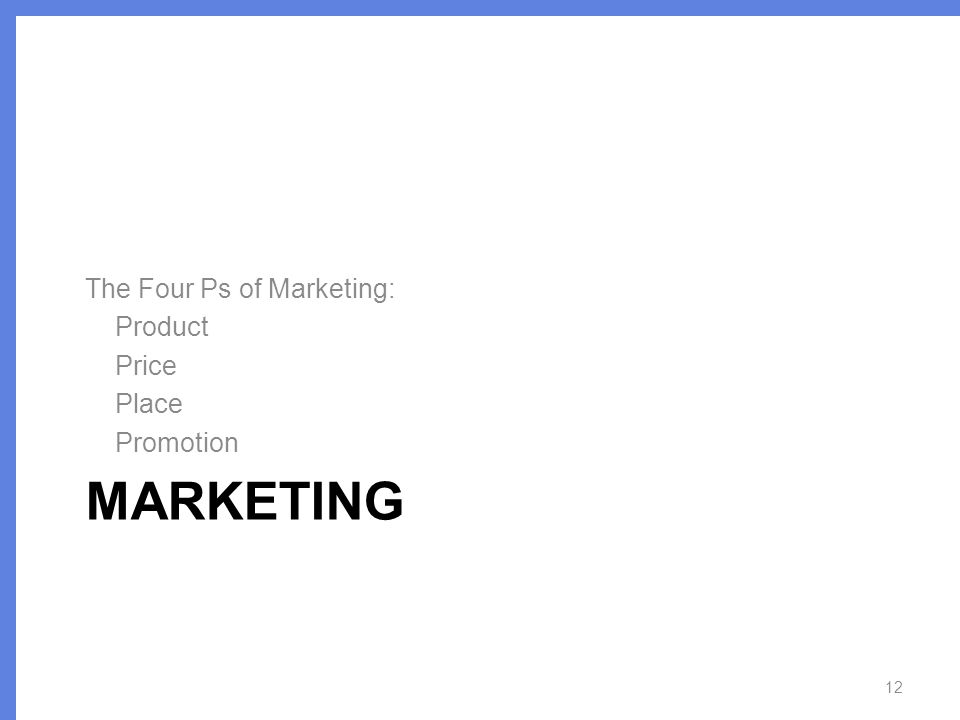 MARKETING The Four Ps of Marketing: Product Price Place Promotion 12