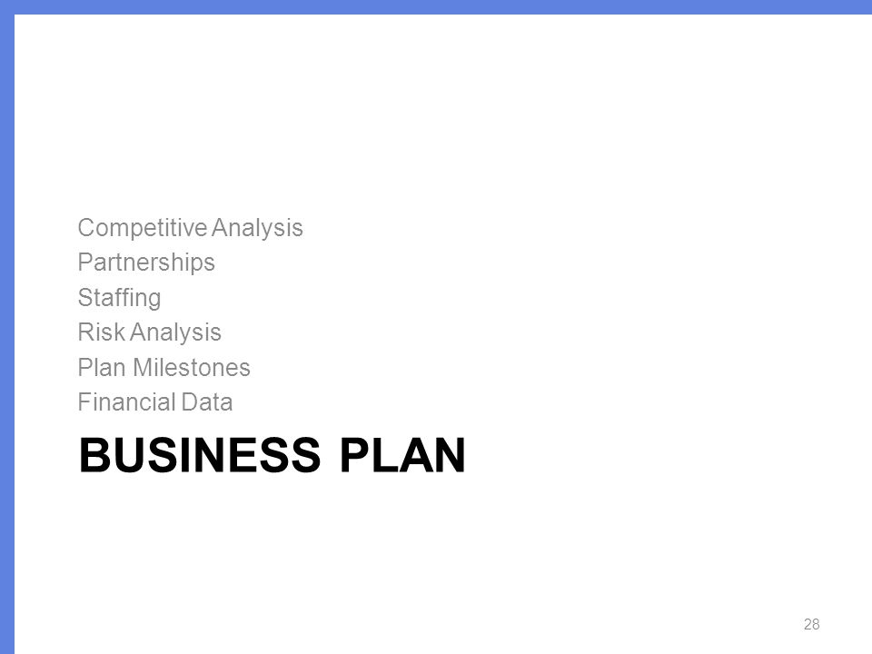 BUSINESS PLAN Competitive Analysis Partnerships Staffing Risk Analysis Plan Milestones Financial Data 28