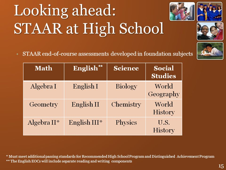 Looking ahead: STAAR at High School STAAR end-of-course assessments developed in foundation subjects 15 * Must meet additional passing standards for R