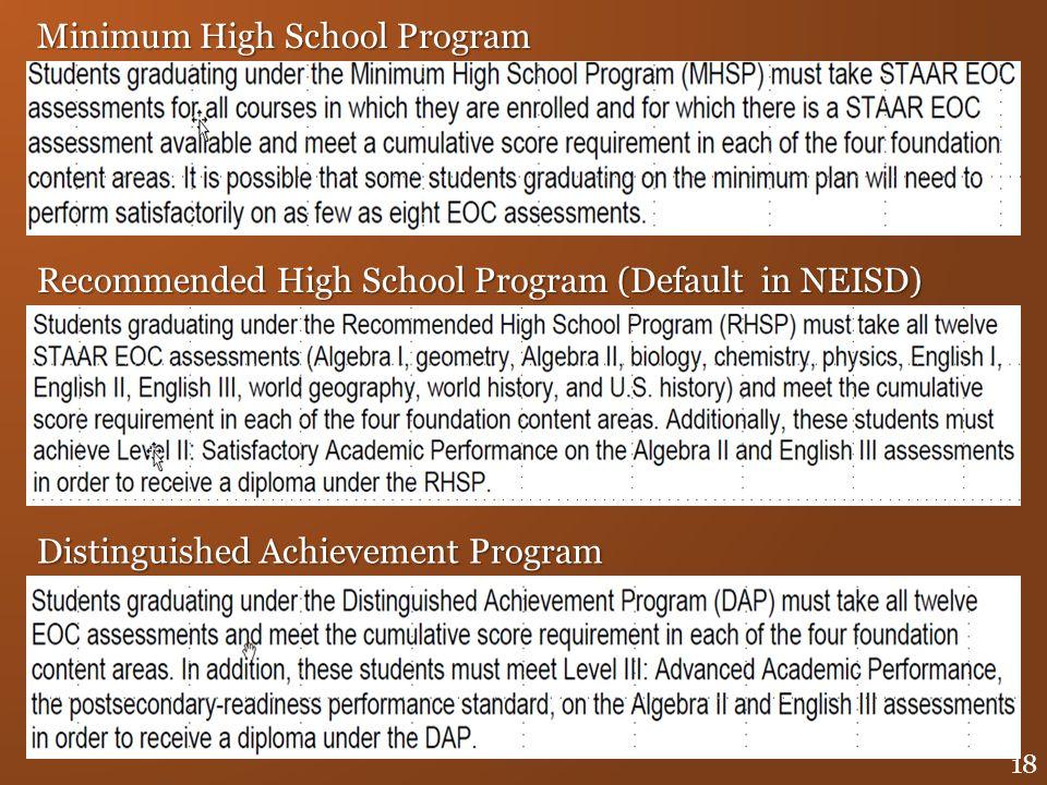 Minimum High School Program Recommended High School Program (Default in NEISD) Distinguished Achievement Program 18