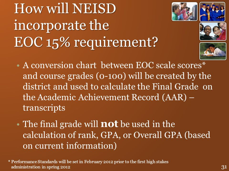 How will NEISD incorporate the EOC 15% requirement? A conversion chart between EOC scale scores* and course grades (0-100) will be created by the dist