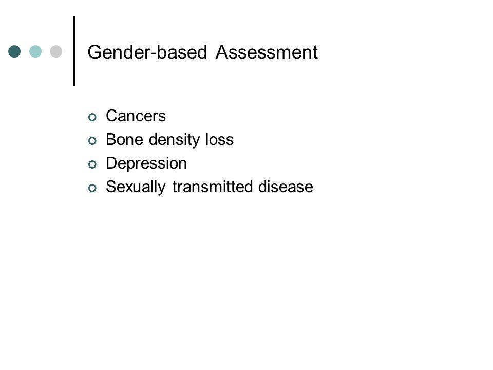 Gender-based Assessment Cancers Bone density loss Depression Sexually transmitted disease