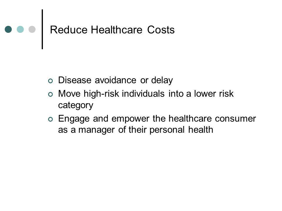 Reduce Healthcare Costs Disease avoidance or delay Move high-risk individuals into a lower risk category Engage and empower the healthcare consumer as a manager of their personal health