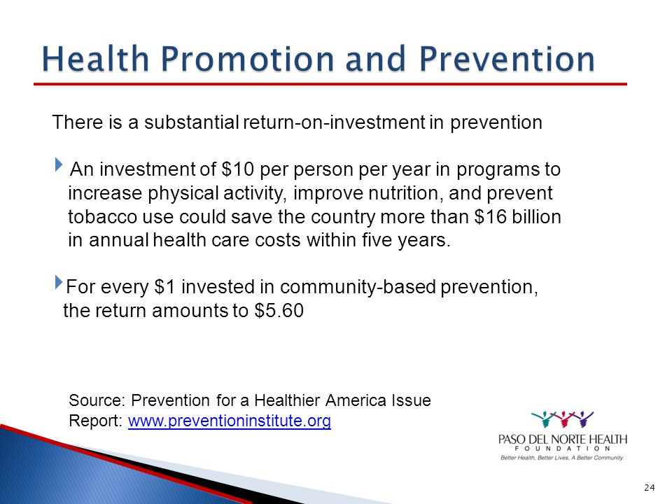 Health Promotion and Prevention Source: Prevention for a Healthier America Issue Report: www.preventioninstitute.org www.preventioninstitute.org Current Healthcare Spending Behaviors and Environment 70% Genetics 20% Healthcare 10% Factors influencing health National Health Expenditures Medical Services 96% Prevention 4% $2.2 trillon