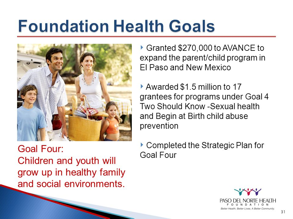 30 Goal Three: Children, youth and families will have access to health care, including access to mental health services.