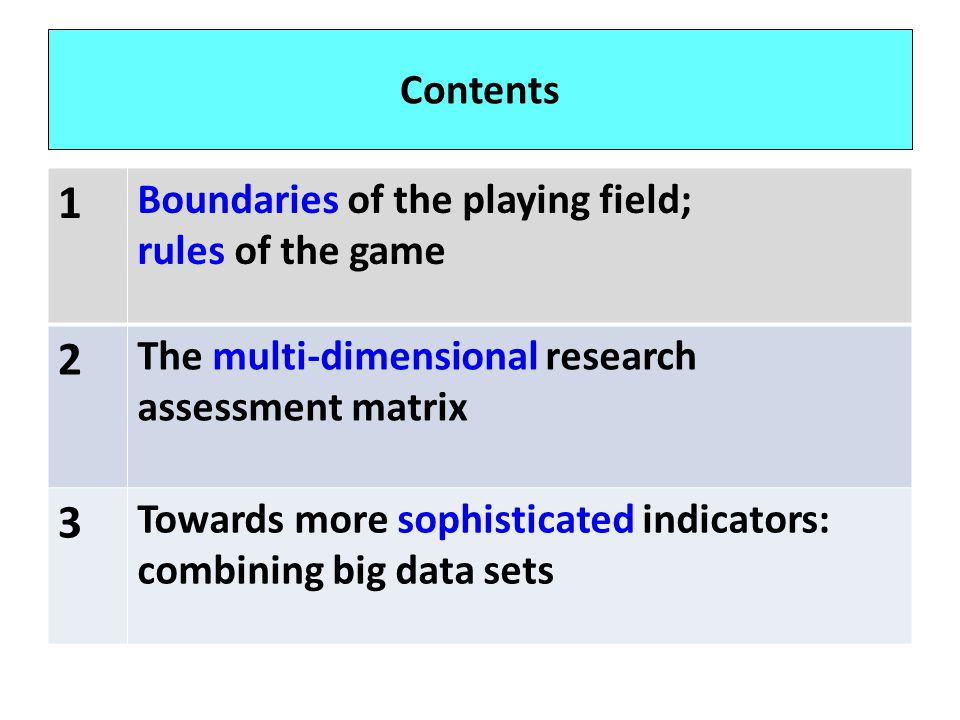 Contents 1 Boundaries of the playing field; rules of the game 2 The multi-dimensional research assessment matrix 3 Towards more sophisticated indicato