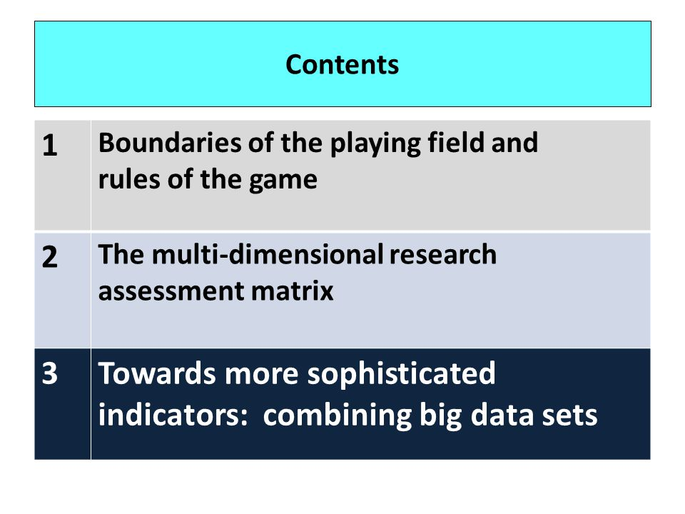 Contents 1 Boundaries of the playing field and rules of the game 2 The multi-dimensional research assessment matrix 3Towards more sophisticated indica