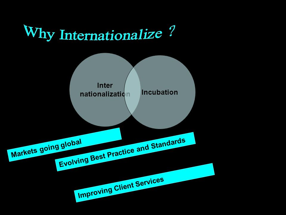 Inter nationalization Incubation Markets going global Evolving Best Practice and Standards Improving Client Services