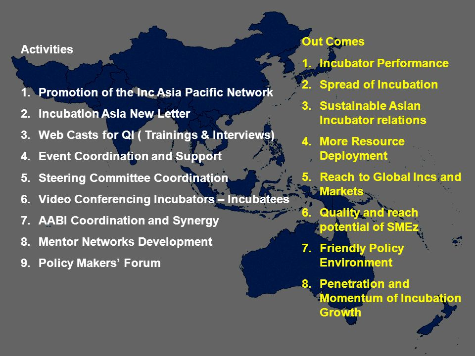 Activities 1.Promotion of the Inc Asia Pacific Network 2.Incubation Asia New Letter 3.Web Casts for QI ( Trainings & Interviews) 4.Event Coordination and Support 5.Steering Committee Coordination 6.Video Conferencing Incubators – Incubatees 7.AABI Coordination and Synergy 8.Mentor Networks Development 9.Policy Makers Forum Out Comes 1.Incubator Performance 2.Spread of Incubation 3.Sustainable Asian Incubator relations 4.More Resource Deployment 5.Reach to Global Incs and Markets 6.Quality and reach potential of SMEz 7.Friendly Policy Environment 8.Penetration and Momentum of Incubation Growth