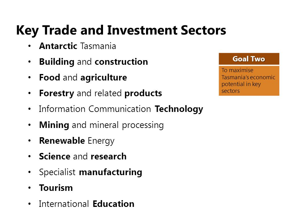 Key Trade and Investment Sectors Antarctic Tasmania Building and construction Food and agriculture Forestry and related products Information Communication Technology Mining and mineral processing Renewable Energy Science and research Specialist manufacturing Tourism International Education Goal Two To maximise Tasmanias economic potential in key sectors