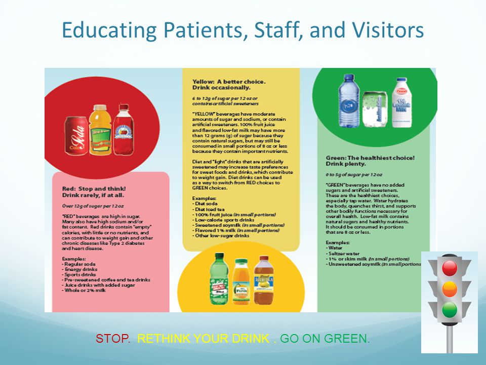 30 STOP. RETHINK YOUR DRINK. GO ON GREEN. Educating Patients, Staff, and Visitors