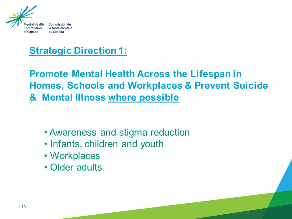 / 15 Strategic Direction #1 Strategic Direction 1: Promote Mental Health Across the Lifespan in Homes, Schools and Workplaces & Prevent Suicide & Mental Illness where possible Awareness and stigma reduction Infants, children and youth Workplaces Older adults