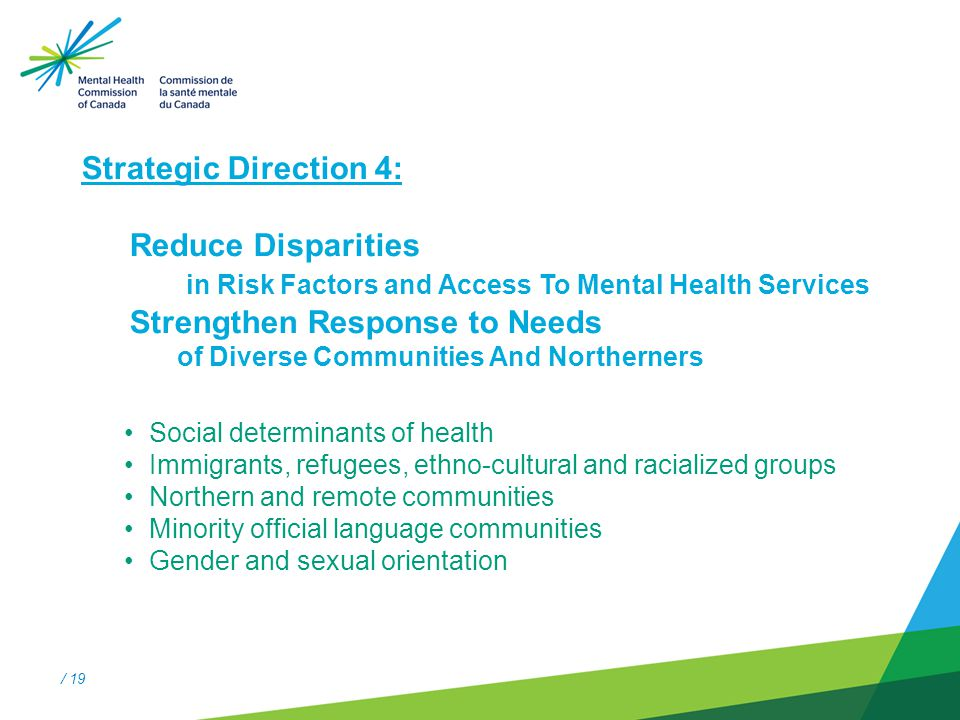 / 19 Strategic Direction #4 Strategic Direction 4: Reduce Disparities in Risk Factors and Access To Mental Health Services Strengthen Response to Needs of Diverse Communities And Northerners Social determinants of health Immigrants, refugees, ethno-cultural and racialized groups Northern and remote communities Minority official language communities Gender and sexual orientation