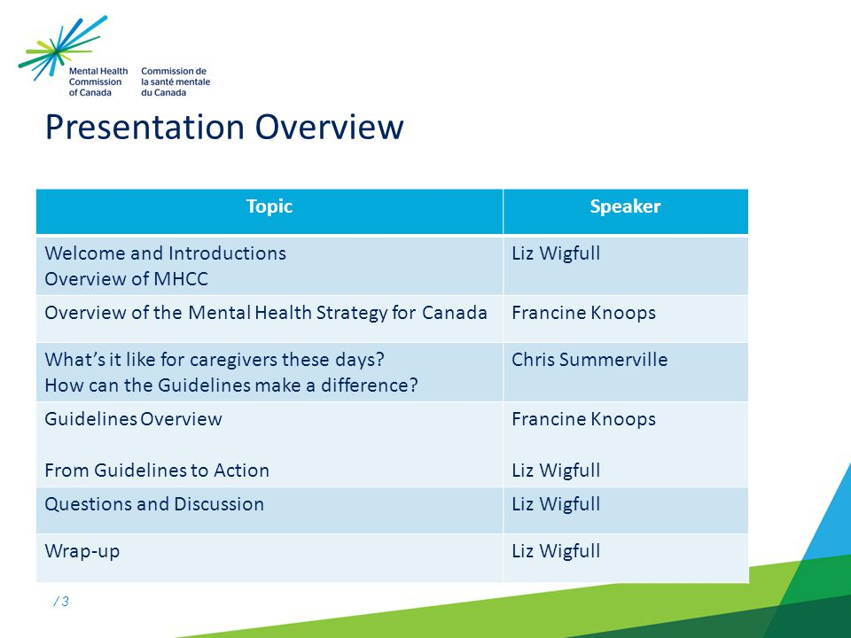 / 3 Presentation Overview TopicSpeaker Welcome and Introductions Overview of MHCC Liz Wigfull Overview of the Mental Health Strategy for CanadaFrancine Knoops Whats it like for caregivers these days.