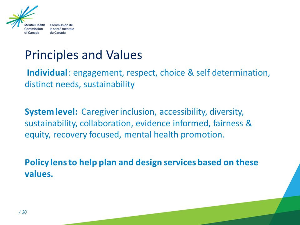 / 30 Principles and Values Individual : engagement, respect, choice & self determination, distinct needs, sustainability System level: Caregiver inclusion, accessibility, diversity, sustainability, collaboration, evidence informed, fairness & equity, recovery focused, mental health promotion.