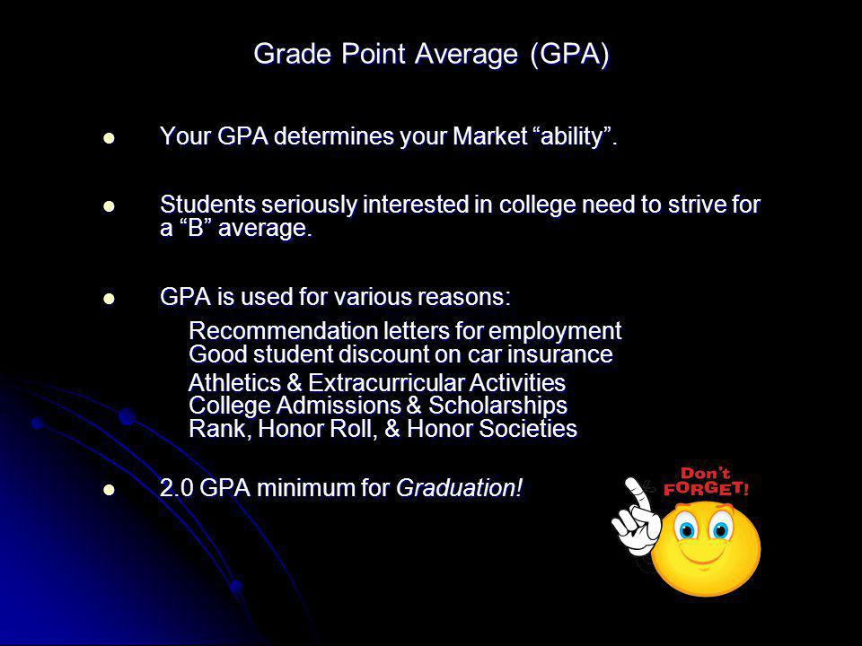 Grade Point Average (GPA) Your GPA determines your Market ability. Your GPA determines your Market ability. Students seriously interested in college n