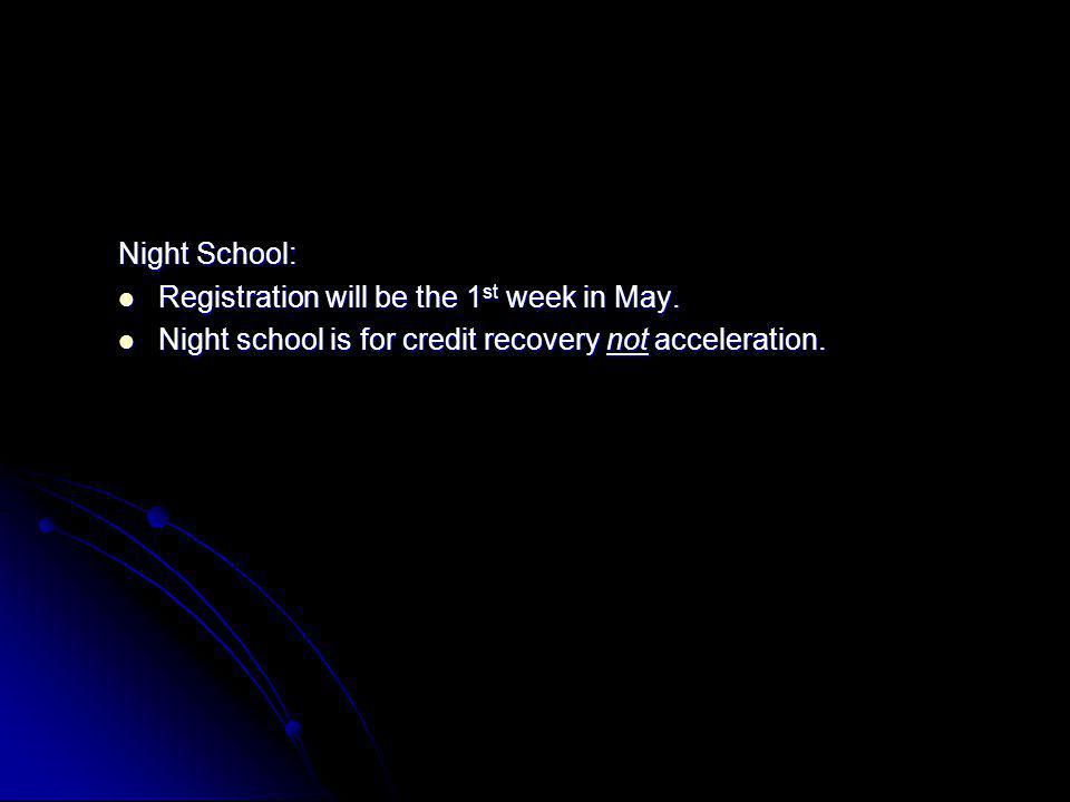 Night School: Registration will be the 1 st week in May. Registration will be the 1 st week in May. Night school is for credit recovery not accelerati