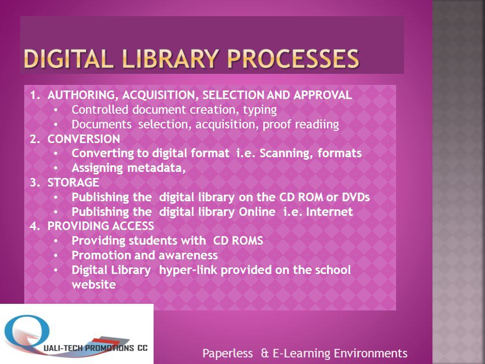 Paperless & E-Learning Environments 1.AUTHORING, ACQUISITION, SELECTION AND APPROVAL Controlled document creation, typing Documents selection, acquisition, proof readiing 2.CONVERSION Converting to digital format i.e.