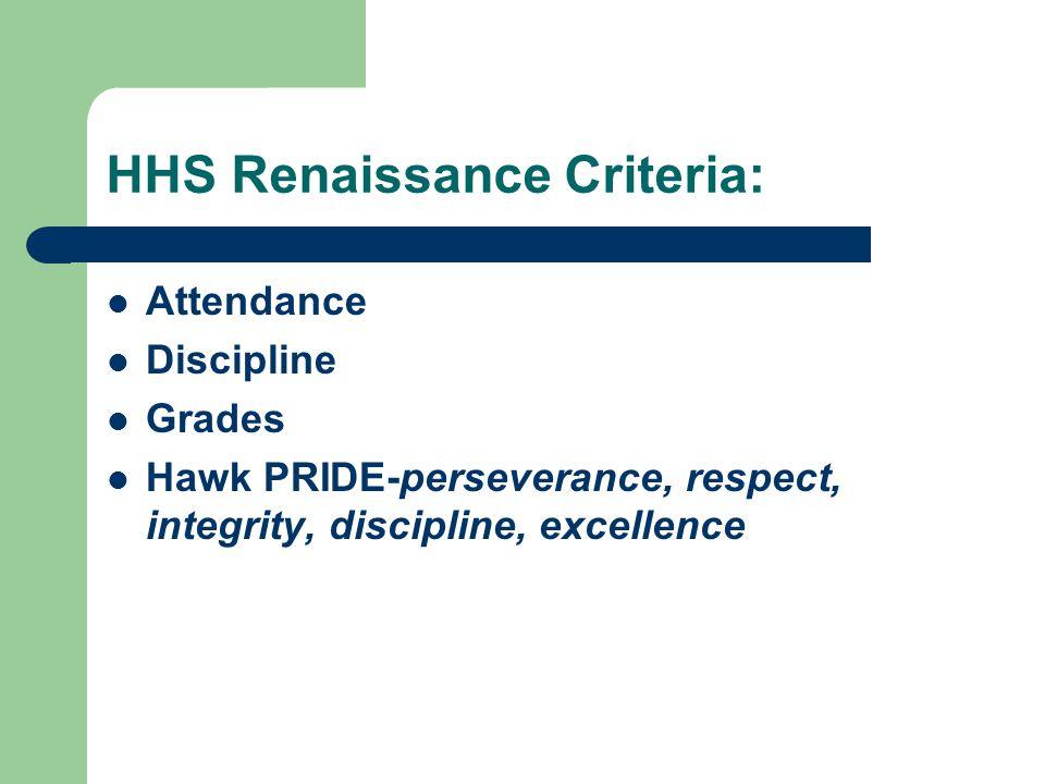HHS Renaissance Criteria: Attendance Discipline Grades Hawk PRIDE-perseverance, respect, integrity, discipline, excellence