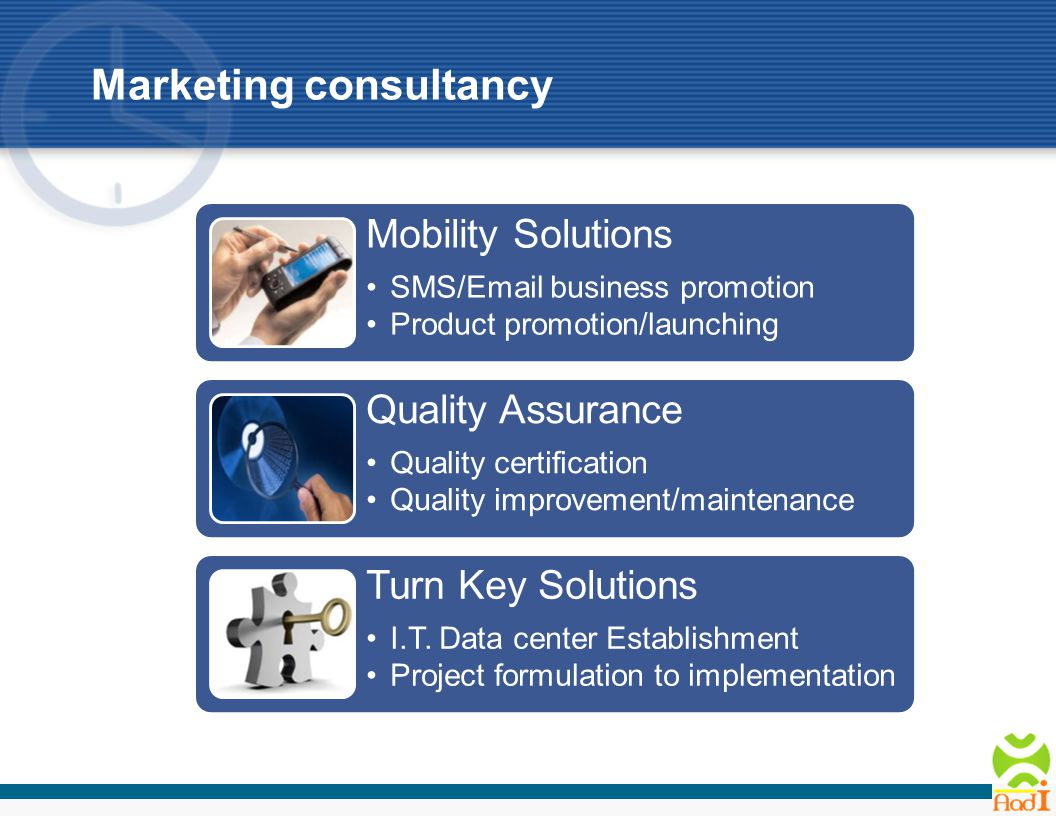 Mobility Solutions SMS/Email business promotion Product promotion/launching Quality Assurance Quality certification Quality improvement/maintenance Turn Key Solutions I.T.