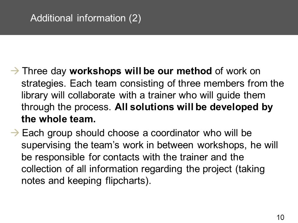 10 Additional information (2) Three day workshops will be our method of work on strategies.