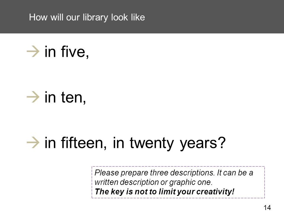 14 How will our library look like in five, in ten, in fifteen, in twenty years.