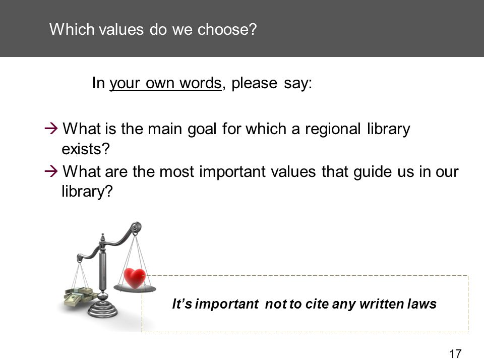 17 Which values do we choose.