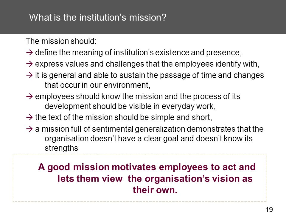19 What is the institutions mission.