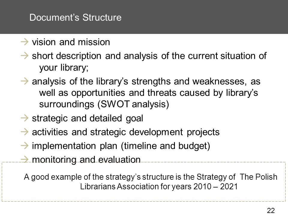22 Documents Structure vision and mission short description and analysis of the current situation of your library; analysis of the librarys strengths and weaknesses, as well as opportunities and threats caused by librarys surroundings (SWOT analysis) strategic and detailed goal activities and strategic development projects implementation plan (timeline and budget) monitoring and evaluation A good example of the strategys structure is the Strategy of The Polish Librarians Association for years 2010 – 2021