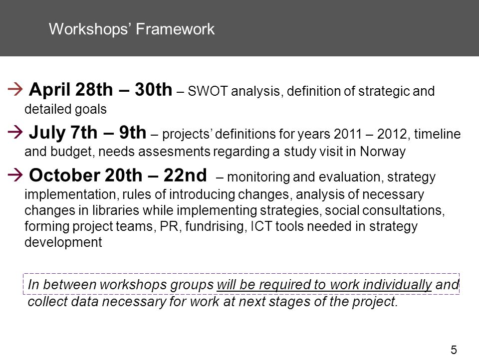 5 Workshops Framework April 28th – 30th – SWOT analysis, definition of strategic and detailed goals July 7th – 9th – projects definitions for years 2011 – 2012, timeline and budget, needs assesments regarding a study visit in Norway October 20th – 22nd – monitoring and evaluation, strategy implementation, rules of introducing changes, analysis of necessary changes in libraries while implementing strategies, social consultations, forming project teams, PR, fundrising, ICT tools needed in strategy development In between workshops groups will be required to work individually and collect data necessary for work at next stages of the project.